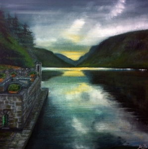 A painting of the view from the Castle Boathouse looking towards the Poison Glen. Glenveagh National Park, Churchill, Co. Donegal