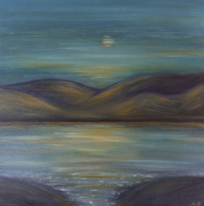 A storytime scape of a lough glowing in the moonlight