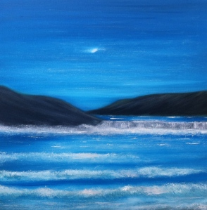 A dreamscape view of a Donegal Bay at night