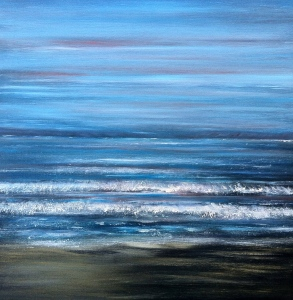 An abstract painting inspired by crashing waves on the horizon