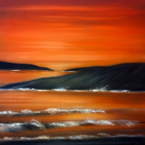 A dreamscape view of a Donegal Bay under a fiery sunset