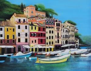 A colourful oilscape of the picturesque Italian harbour of Portofino.