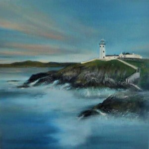 A scape of Fanad's famous lighthouse atop crashing waves.